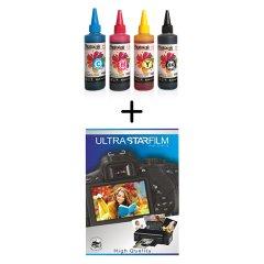 KAMPANYA A4 Fotoğraf Kağıdı Hediye! Brother Yazıcılar için uyumlu 4 Renk 100 ml Mürekkep SETİ (PHOTO INK Akıllı Mürekkep) - BROTHER T300 - T500 - T700W UYUMLU
